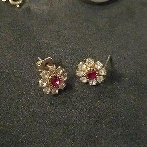 Ruby, diamond earrings